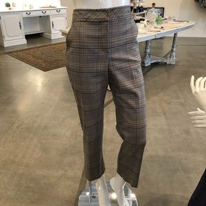 Plaid cropped trouser; back button detail at him